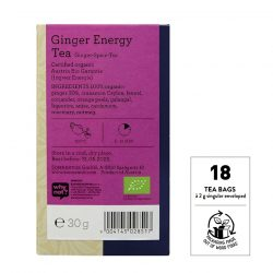 Back view of Sonnentor Ginger Energy tea blend package