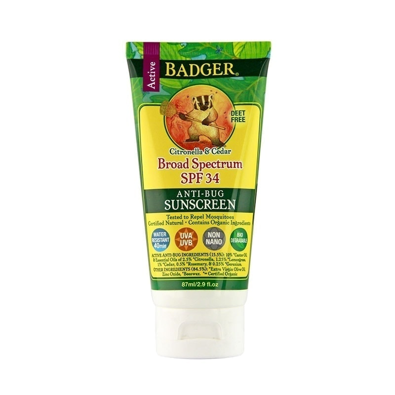 Tube of Badger Organic Sun Screen SPF 30 Plus Anti-Bug, 2.9oz