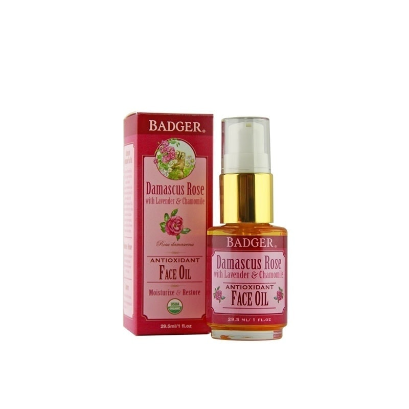 Bottle and box of Badger Organic Damascus Rose Antioxidant Face Oil, 29.5ml
