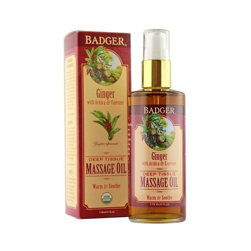 Bottle and box of Badger Organic Ginger Massage Oil, 118ml