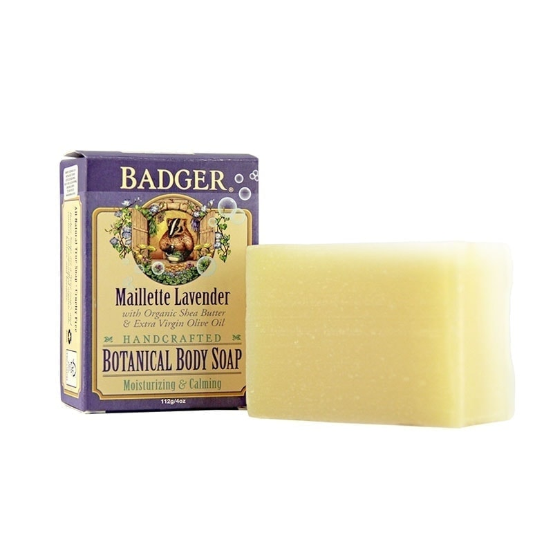 Bar and Box of Badger Organic Mailette Lavender Botanical Body Soap, 4oz