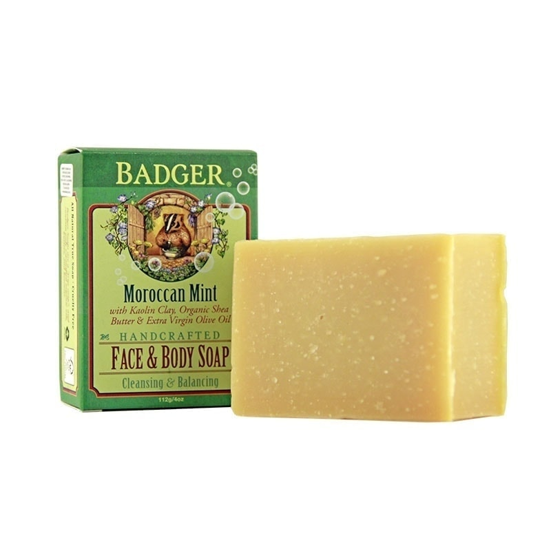 Bar and Box of Badger Organic Moroccan Mint Face & Body Soap, 4oz