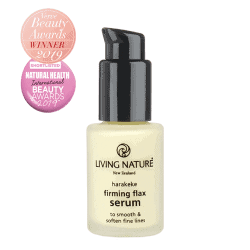 Bottle of Living Nature Organic Firming Flax Serum, 15ml