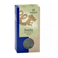 Front view of a box of Sonnentor Organic Green Tea Sencha, 100g