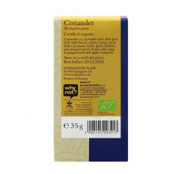 Back view of a box of Sonnentor Organic Coriander Whole, 35g