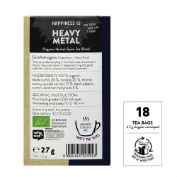 Back view of box of Sonnentor Happiness is… Heavy Metal Tea Blend