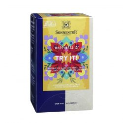 Front view of a box of Sonnentor Happiness is… Try It! Tea Blend