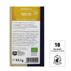 Back view of a box of Sonnentor Happiness is… Try It! Tea Blend
