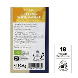 Back view of a box of Sonnentor Happiness is… Feeling Wide Awake Tea Blend