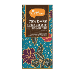 Front view of a bar of Vive 75% Dark Chocolate Bar (Cacao Nibs), 45g