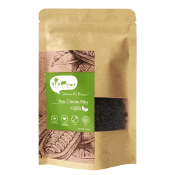 Front view of a packet of Vive Raw Cacao Nibs, 100g