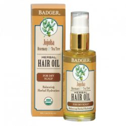 Bottle and box of Badger Organic Jojoba Hair Oil, 2oz