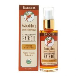 Bottle of Badger Seabuckthorn Antioxidant Hair Oil (2oz)