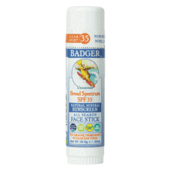Bottle of Badger Sun Screen SPF 35 Sports - All Seasons Face Stick, 0.65oz