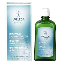 Botlle of Weleda Rosemary Invigorating Bath Milk 200ml and packaging