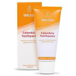 Tube of Weleda Toothpaste Calendula 75ml and packaging