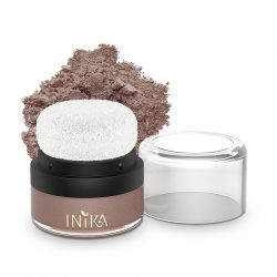Container and swatch of INIKA Mineral Blush Puff Pot - Rosy Glow, 3g