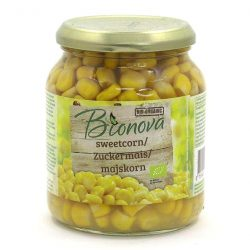 Glass jar of yellow sweetcorn