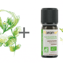 A bottle of Florame organic Eucalyptus and Peppermint essential oil.