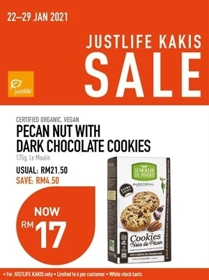 Justlife Kakis Promo Pecan Nut Dark Chocolate Cookies Value Buy Promo